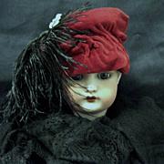 SOLD Maroon Velvet Doll Hat, Black Feather