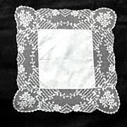 Dogwood / Tambour Embroidered Wedding Hanky
