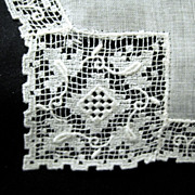 Filet Lace-edged Linen Wedding Hanky