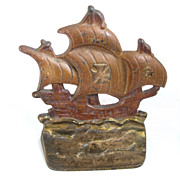 Cast Iron Polychromed Ships Bookends