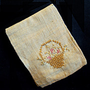 Victorian Hand Embroidered Linen Needle Case