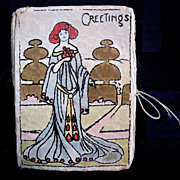 Handmade Art Nouveau Lady  Early Needle Case