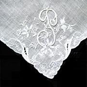 Fancy Initial, Cut Work on White Linen Hanky