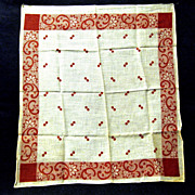 Never Used Turkey Red, White Cotton Handkerchief