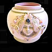 Schafer & Vater Art Nouveau Pink Jasperware Ladies' Heads Jar