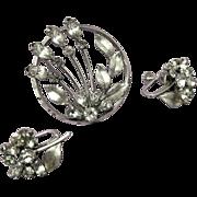 Mid century Krementz Rhinestone Pin, Earring Set
