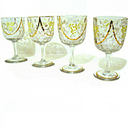 Bohemian Blown Glass Hand Painted Enamel Gilt Wine Glasses
