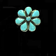 Hand Made Turquoise and Silver Flower Ring