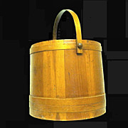 Huge Oak Firkin Yarn Holder, Sugar Bucket, 1940s