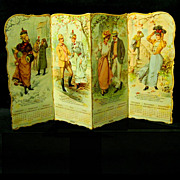1899 Standing Four Panel Calendar Advertises Rubbers for Shoes