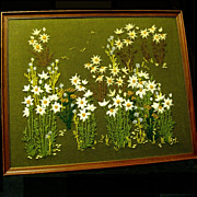 Hand Embroidered Crewel Work Framed Daisies Picture