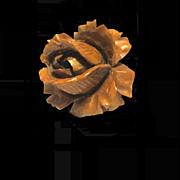 Carved Edwardian Rose Brooch, Faux Coral