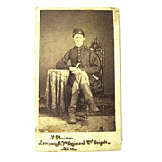SOLD CDV of Seated Identified Civil War Union Soldier in Uniform, Boots
