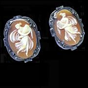 Carved Shell Cameo Earrings, Sterling, Demeter, Goddess of the Harvest