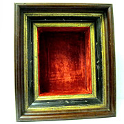 SALE PENDING Victorian Walnut ShadowBox Frame with Red Velvet Liner