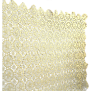 Vintage Hand Crocheted Ecru Tablecloth, Scalloped Edges