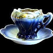 Miniature R.S. Prussia Flow Blue cup/Saucer