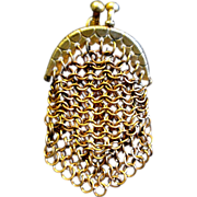 Tiniest Victorian Copper Mesh Doll, Coin, or Chatelaine Purse