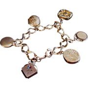 SOLD Gold filled Victorian Bracelet with Fobs, Locket Charms