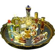 Mini Perfume Collection on Mirrored Dresser Tray