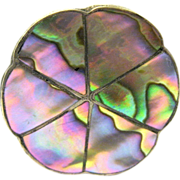 Signed Petal-shaped Mexican Sterling Silver Pill Box, Concha Inlay