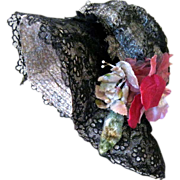 Vintage Black Lace and Straw Doll Hat