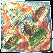 Silk Souvenir State Handkerchief, Washington D.C., ca. 1950s