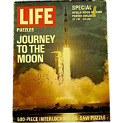 "1969 Jigsaw Puzzle, ""Apollo-Saturn Rocket LIfts off from Cape Kennedy"", a Life Puzzl"