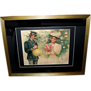 Edwardian Watercolor of Young Officer with Girl and Japanese Lanterns