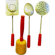 Red handled Aluminum Toy Cooking Utensils, 1940