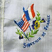 Silk WW I Hanky, Souvenir de France