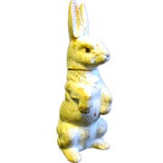 Old Glass-eyed Papier Mache Easter Rabbit Candy Container