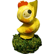 Old Papier Mache Easter Chick German Candy Container with Attitude