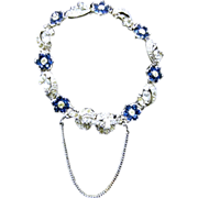 Designer Signed Pennino Sapphire Blue and Clear Flower Bracelet