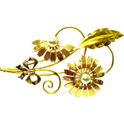 Designer Signed Van Dell Flower Brooch, 1940s