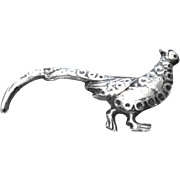 "Small Vintage Peahen Brooch Marked ""Silver Mexico"""