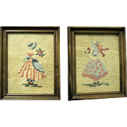 Pair of Handmade Framed Needlepoint Pictures from the 1930s
