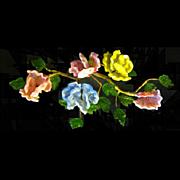 SOLD Vintage Oriental Wired Art Glass Flower and Leaf Sculpture