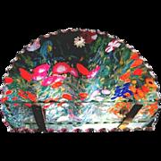 Frameless Scallop Edge Half Moon Mirror and Combination Glass Shelf, ca. 1953