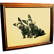 "Oak Framed 1930's Print of Scottie Dogs, ""LISTEN"""