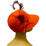 Tomato Red Wool Equestrian Style Ladies Hat, MISS BIERNERS ORIGINALS, 1960s