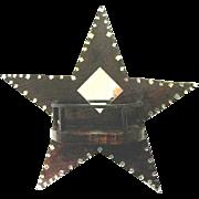 Hand Made Folk Art  Star Shaped MIrrored Shelf, 1940s