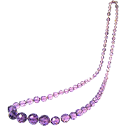 "SALE PENDING 1920s Czech Faceted Amethyst Glass Beads, 24"" Long"