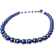 Blue Faux Pearl Choker with Rhinestone Rondels