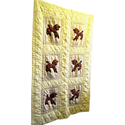 !950's Appliqued Crib Quilt, Six Baby Lambs