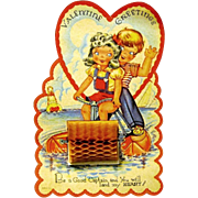1940's Honeycomb Valentine, Children Ride Paddle Boat