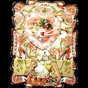 Large Edwardian Dimensional Parchment Valentine, Cupids, Hearts