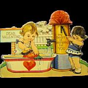 1930s Honeycomb Valentine, Old Fashioned Pump