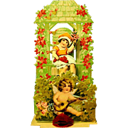 Pull Down Dimensional Germany Valentine, Honeycomb Puff, Cherub, Bee Skep