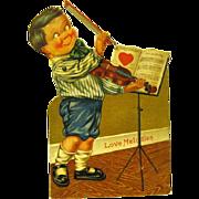 1925 Mechanical German Valentine, Boy Violinist